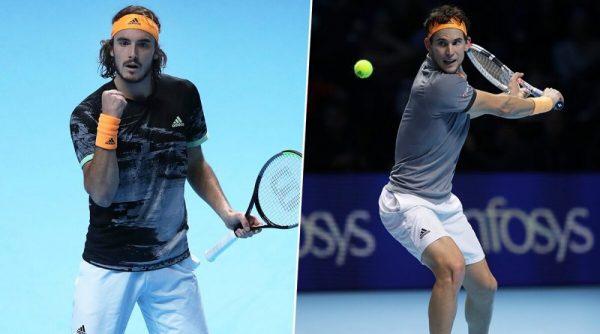 Połączone dwa zdjęcia Stefanos Tsitsipas oraz Dominik Thiem na korcie tenisowym