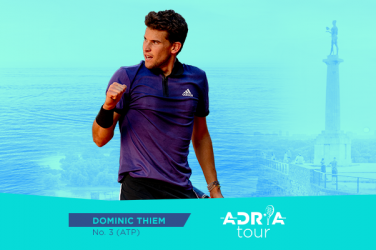 Plakat ze zdjęciem Dominic Thiem promujący Adria Tour