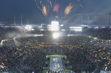Kort tenisowy na US Open z pełnymi trybunami podczas sesji wieczornej