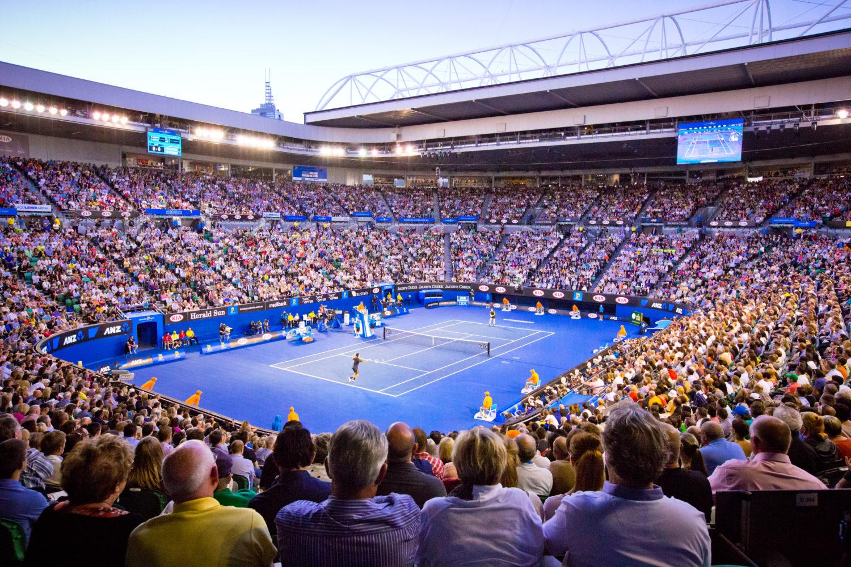 Kort tenisowy z trybunami na Austrialian Open