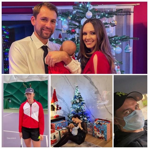 Polscy tenisiści w święta - cztery zdjęcia w jednym: Iga Świątek, Łukasz Kubot, Agnieszka Radwańska, Kamil Majchrzak